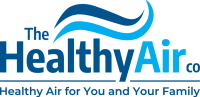 The Healthy Air co logo light an dark blue wave with text